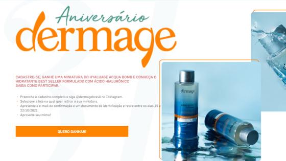 Amostra Grátis Ganhe uma Miniatura do Hyaluage Acqua Bomb no Aniversário Dermage