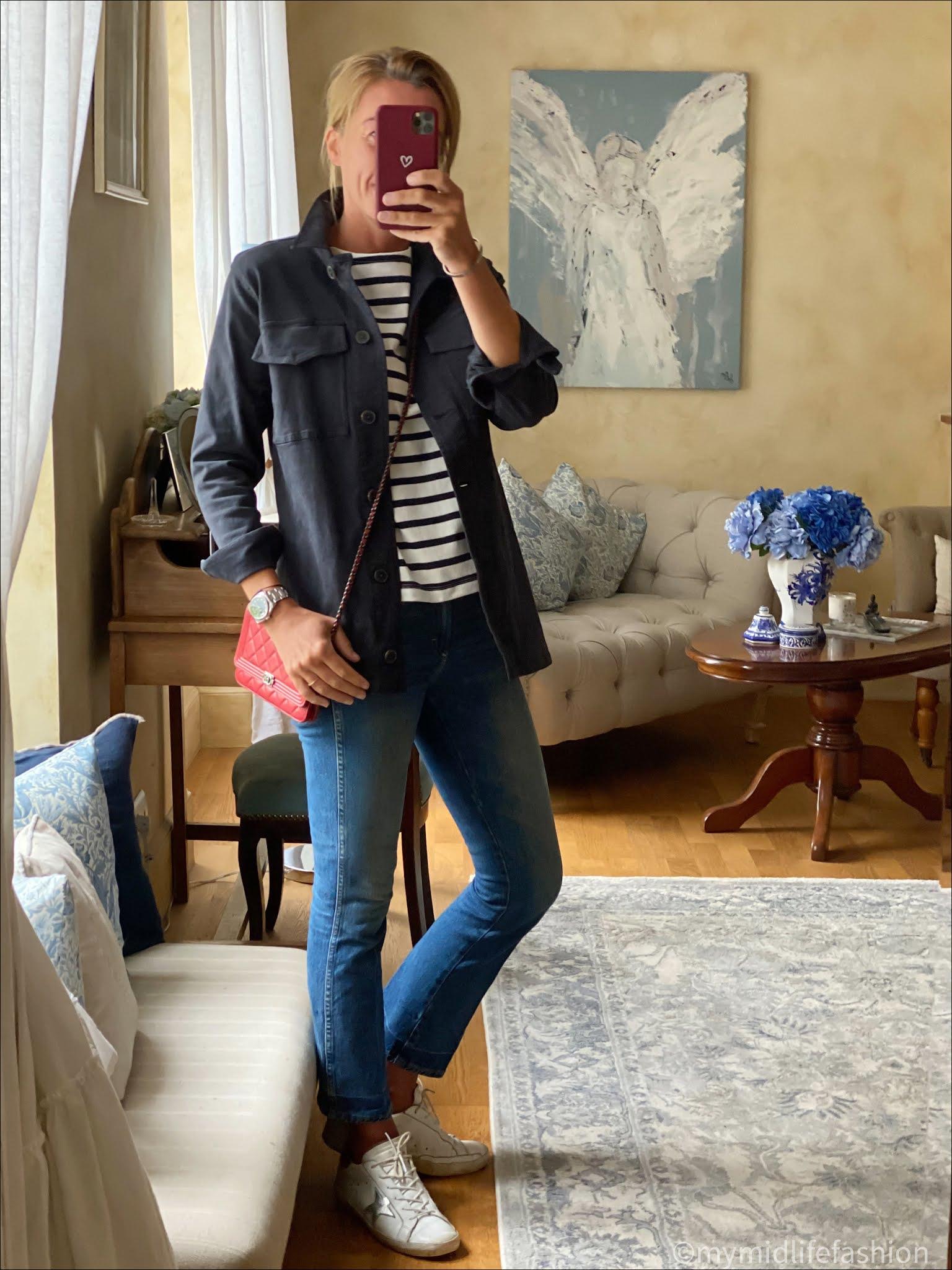 my midlife fashion, petit bateau women's Breton cotton top, j crew cropped kick flare jeans, golden goose superstar low top leather trainers, chanel wallet on chain, Baukjen alwen organic jacket