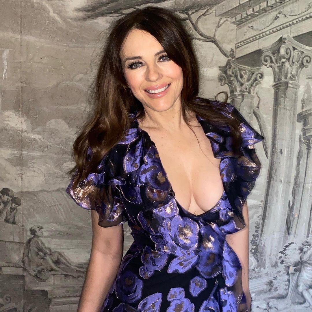 Elizabeth Hurley looks 'breathtaking' in revealing dress