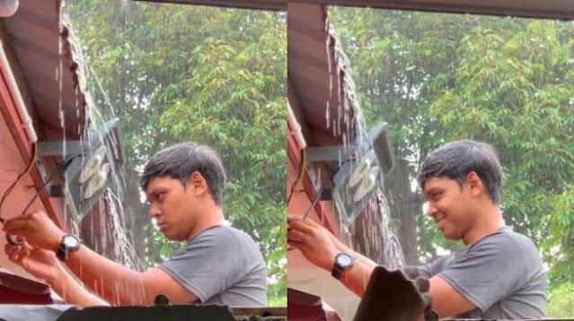 Viral Pria Ini Tak Basah saat Kehujanan, Publik: Manusia Waterproof