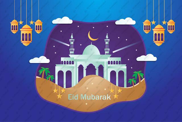 Eid al adha calligraphy design illustration free vector download