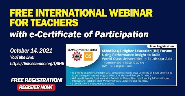 FREE INTERNATIONAL WEBINAR FOR TEACHERS | Thursday, 14 October 2021 | REGISTER HERE!