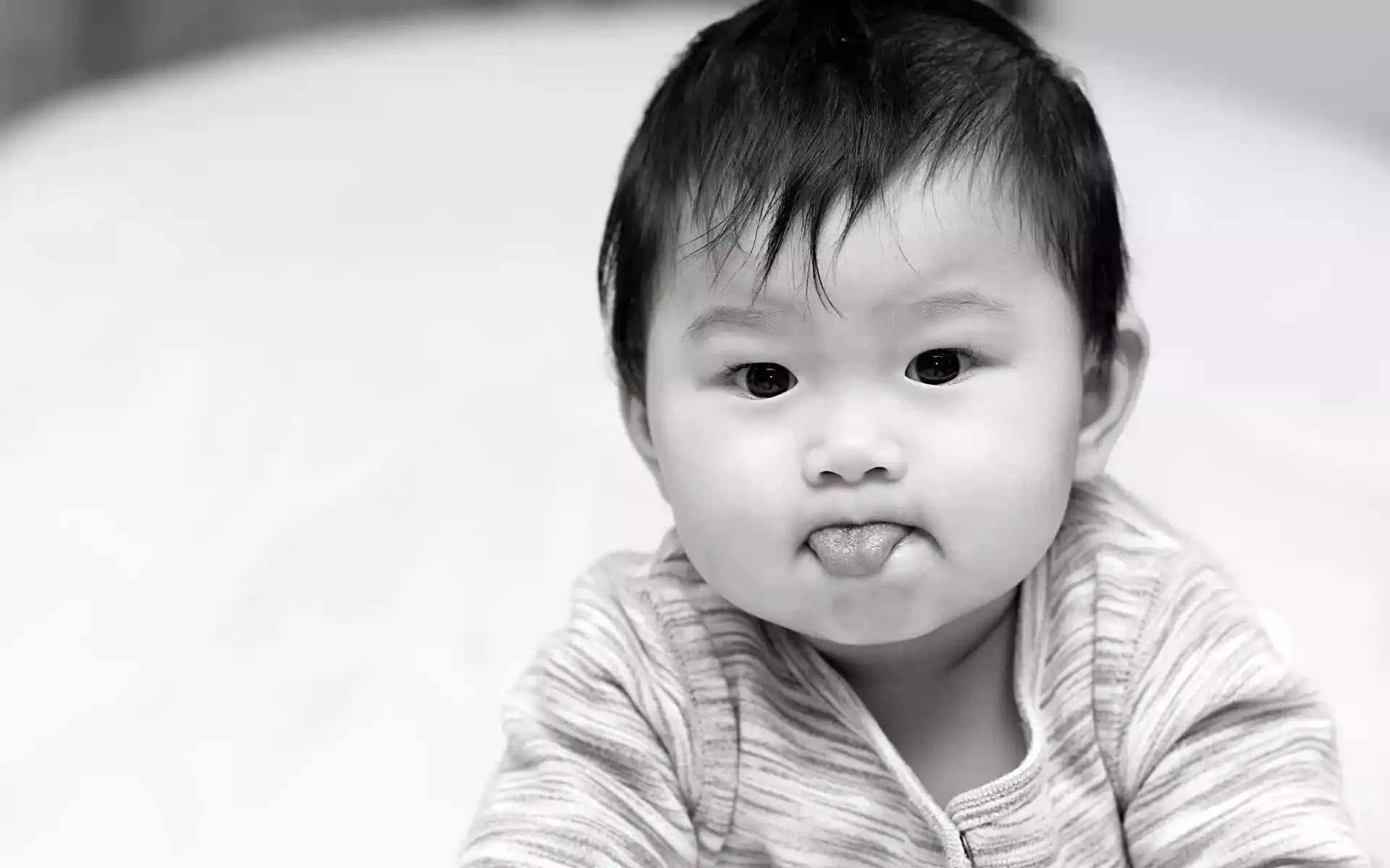 Black and white baby photos