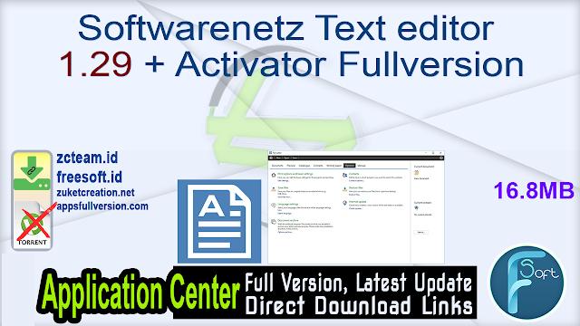 Softwarenetz Text editor 1.29 + Activator Fullversion