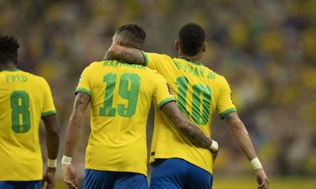 ELIMINATÓRIAS: Com brilho de Neymar e Raphinha, Brasil goleia Uruguai por 4 a 1