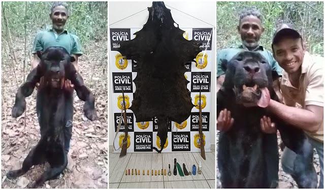 Blog do Gilberto Lima: Caçador é preso após matar onça-preta na terra indígena Arariboia em Arame; outros envolvidos são procurados