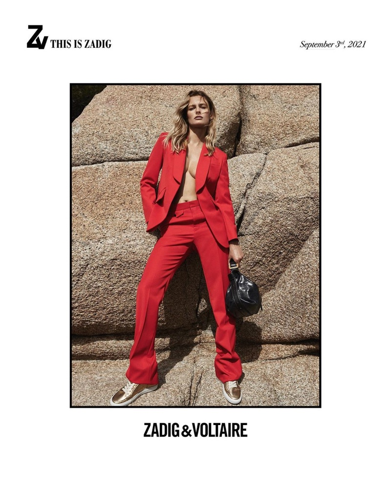Edita Vilkeviciute models red pant suit in Zadig & Voltaire fall-winter 2021 campaign.
