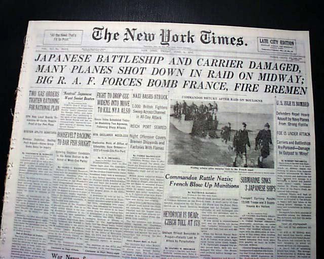NY Times headlines June 1942 worldwartwo.filminspector.cmo