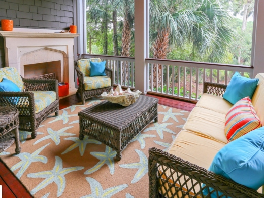 Orange Decor Idea Rug Porch Sunroom Design Coastal Theme