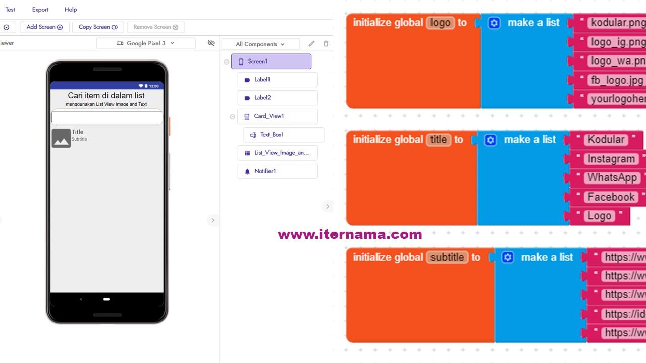 Tutorial Kodular Cara Mencari Item di Dalam List Mengunakan List View Image anda Text