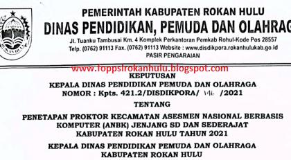 SK Penetapan Proktor Kecamatan ANBK Kab Rokan Hulu Tahun 2021