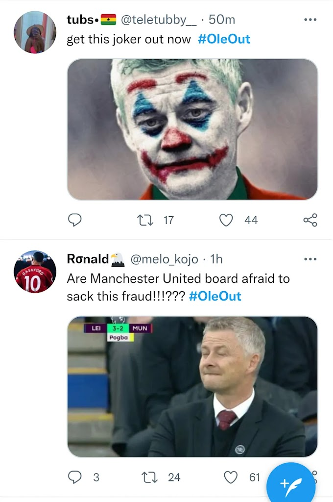 'Get This Joker Out Now' - #Oleout Trends Worldwide After Man United Lose 4-2 To Leicester City