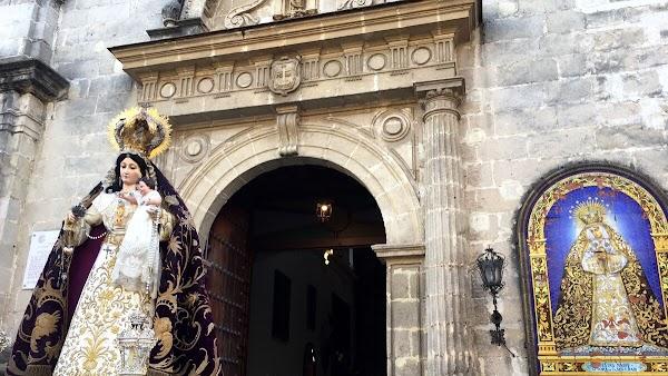 Horario e Itinerario Salida Procesional Madre de Dios del Rosario, Patrona de Capataces y costaleros. Jerez de la Frontera 23 de Octubre del 2021