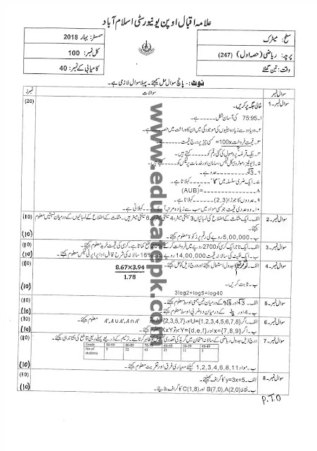AIOU Past Paper 247 Spring 2018