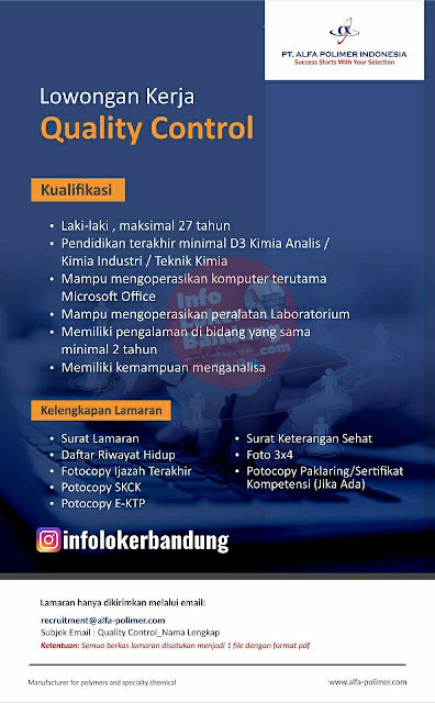 Lowongan Kerja PT. Alfa Polimer Indonesia Bandung Agustus 2021