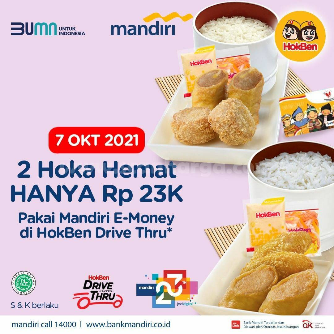 Promo HOKBEN 2 HOKA HEMAT Cuma Rp. 23.000 dengan Kartu Mandiri E-Money