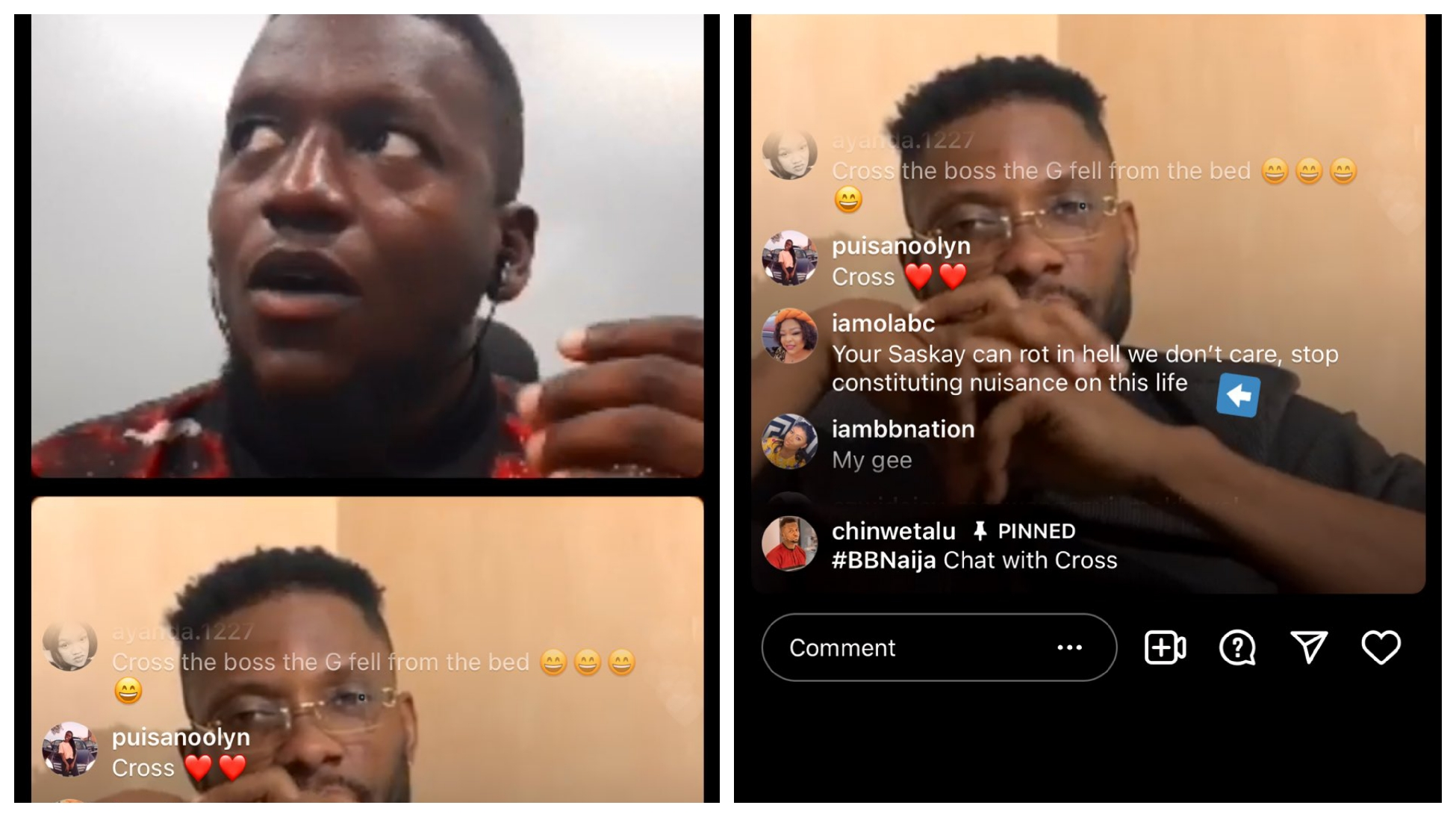 BBNaija: Cross goes live on Instagram, showers his fans with prayers and good wishes