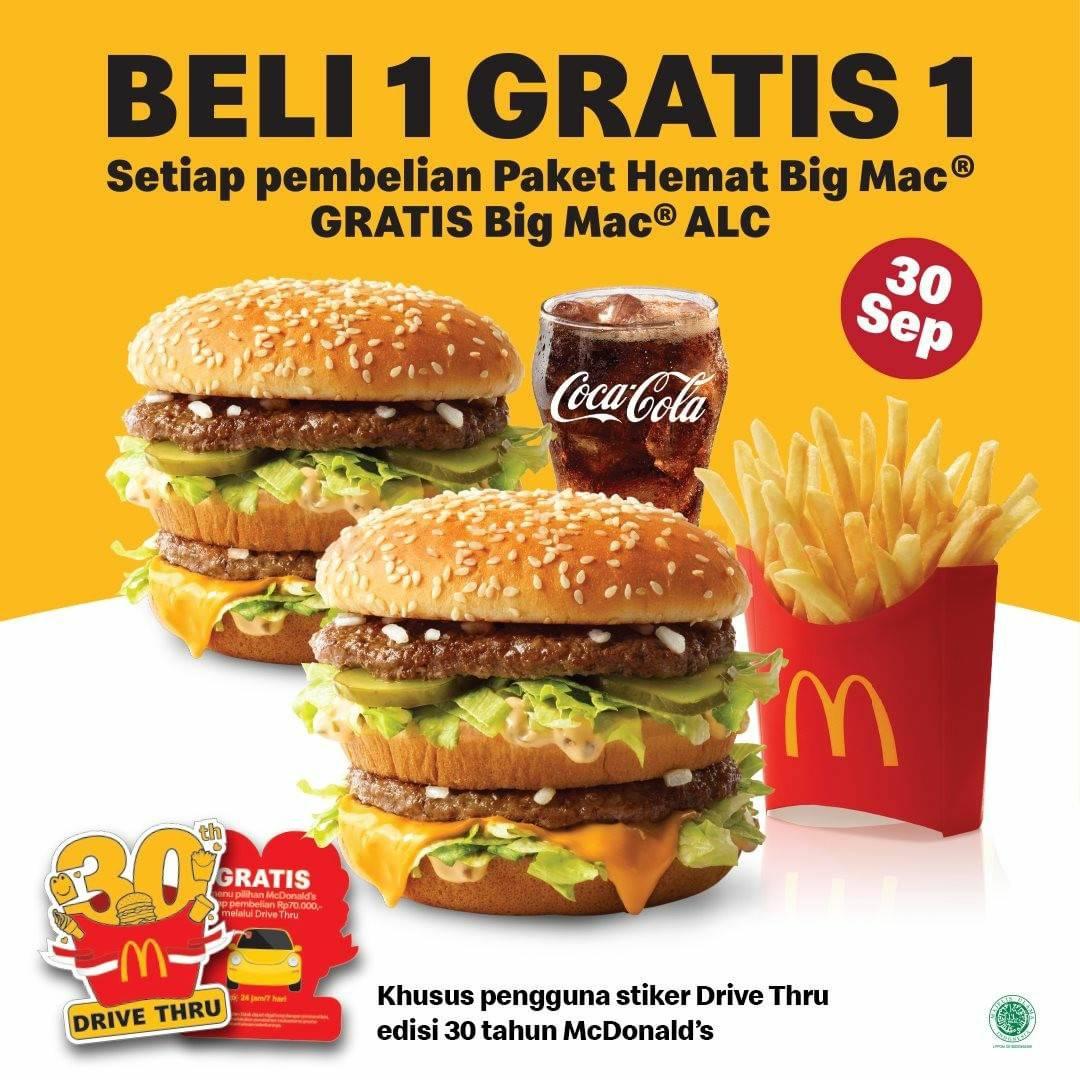 Promo McDONALDS 30 September 2021 – BELI 1 GRATIS 1