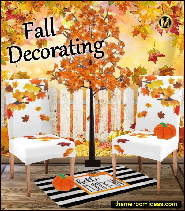 Autumn Maple Leaf Chair Protector Slipcovers thanksgiving home decor