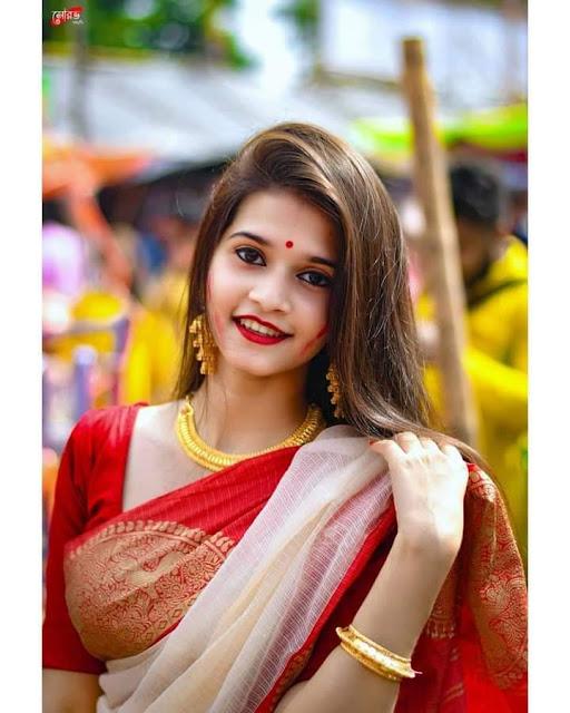 खूबसूरत लड़की का फोटो लाल साडी वाली लड़की  फोटो डाउनलोड