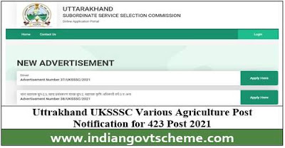 UKSSSC Various Agriculture Post Notification