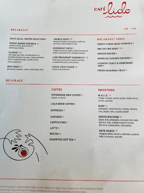 Café Lido Santa Barbara's breakfast menu