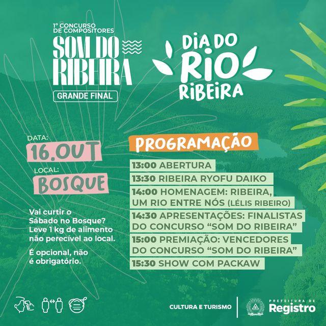 Bosque Municipal recebe finalistas do Concurso Som do Ribeira e homenagens ao Dia do Rio Ribeira neste 16/10