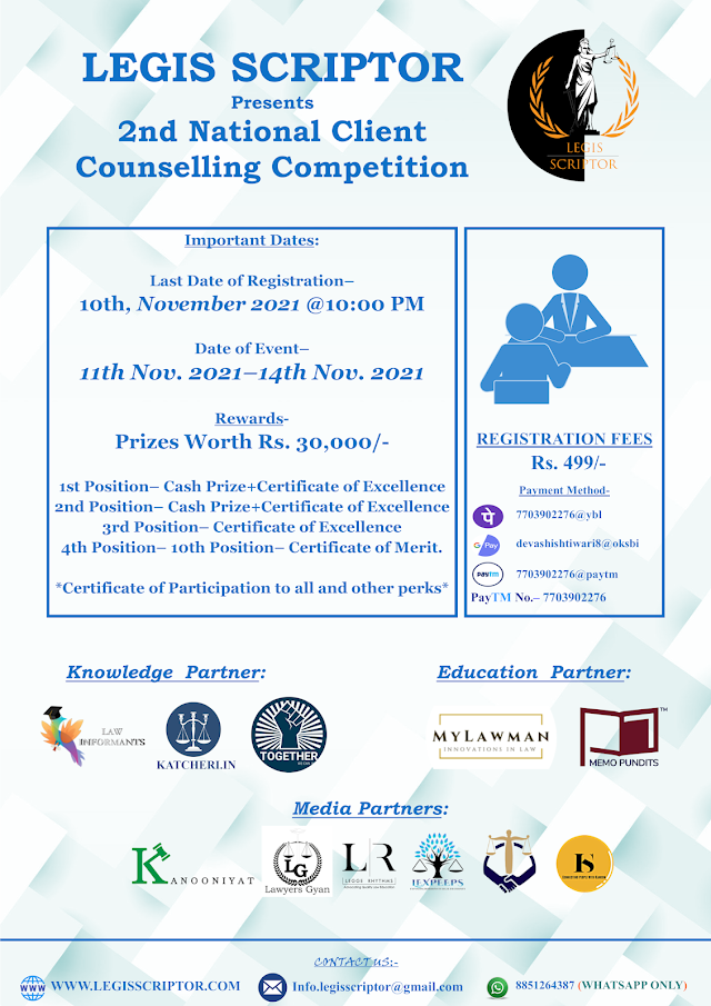 [Competition] 2nd Edition of National Client Counselling Competition by Legis Scriptor [Register by 10 November 2021]