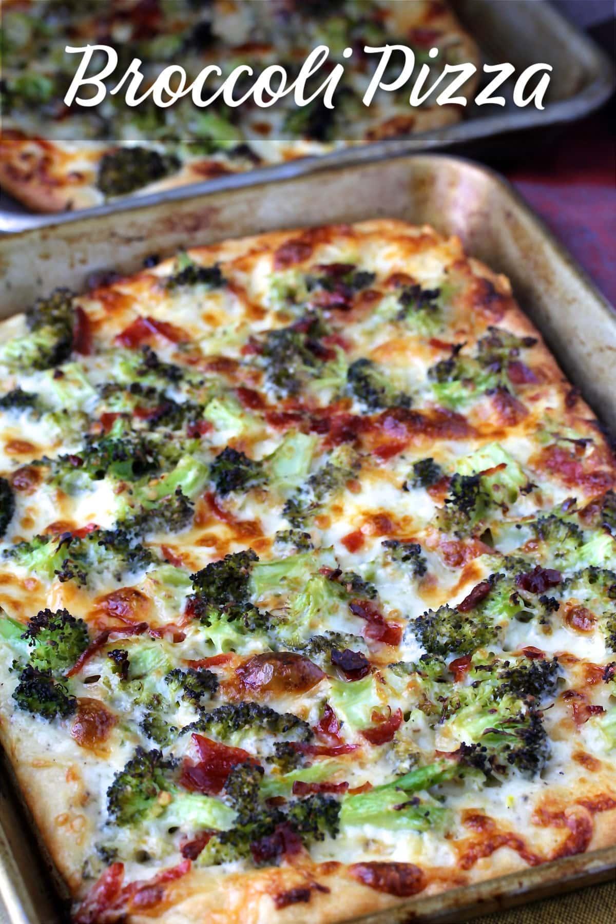 Broccoli Pizza with Provolone, Mozzarella, and Pecorino Romano
