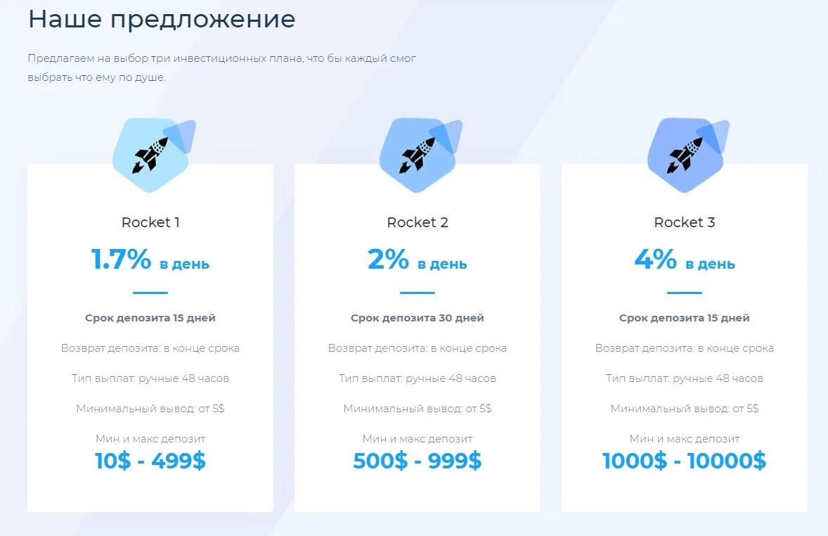 Инвестиционные планы Crypto Rocket