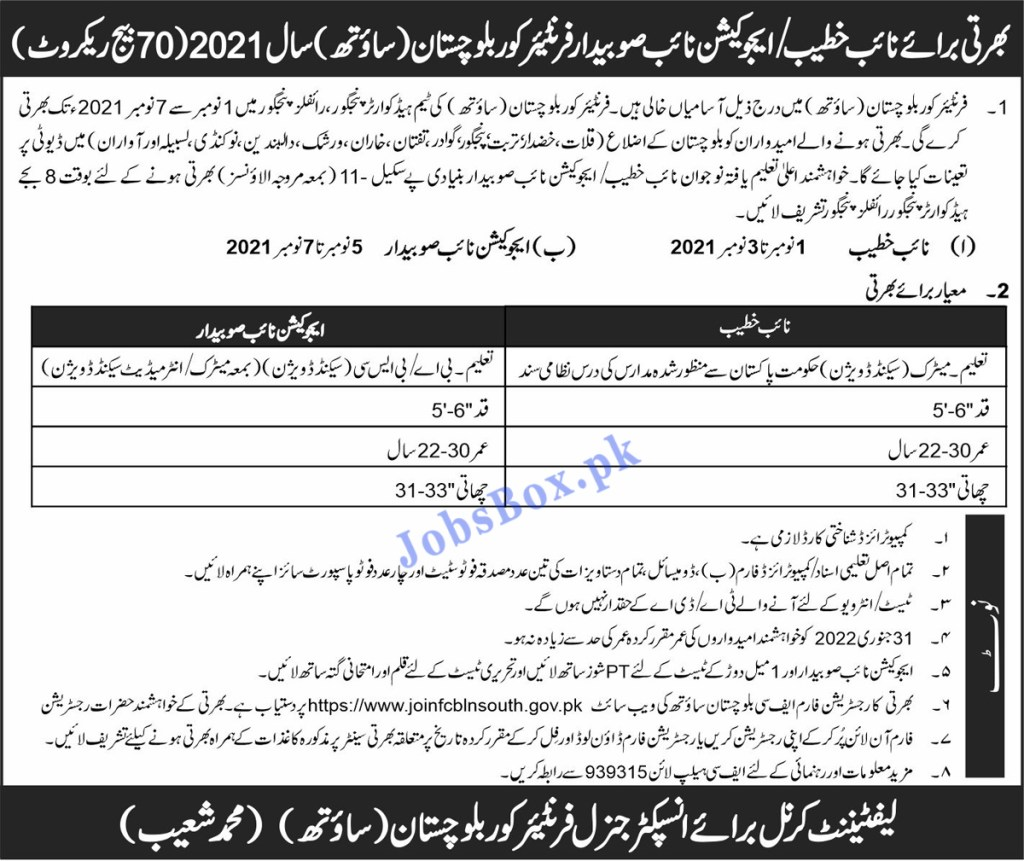 Join FC Balochistan Jobs 2021 – Join Frontier Corps South Batch No 70