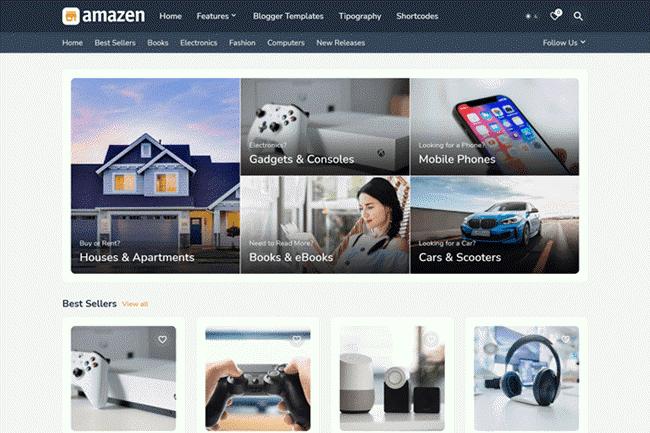 Amazen Blogger Template Premium Free Download