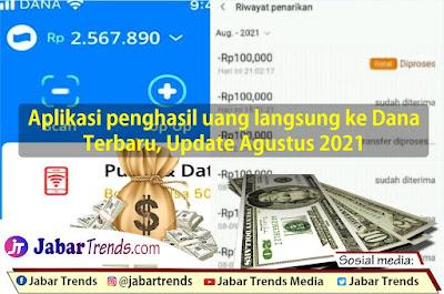 Aplikasi Penghasil Uang Langsung Ke Dana Terbaru, Update Agustus 2021