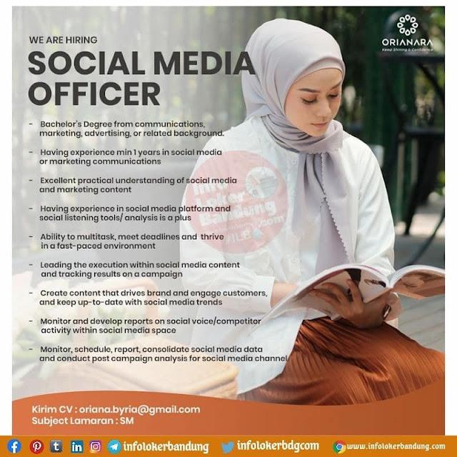 Lowongan Kerja Social Media Officer Oriana Boutique Bandung Agustus 2021