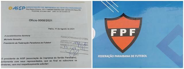 AISP protocola documento na FPF para credenciamento nos eventos esportivos da Federação Paraibana de Futebol