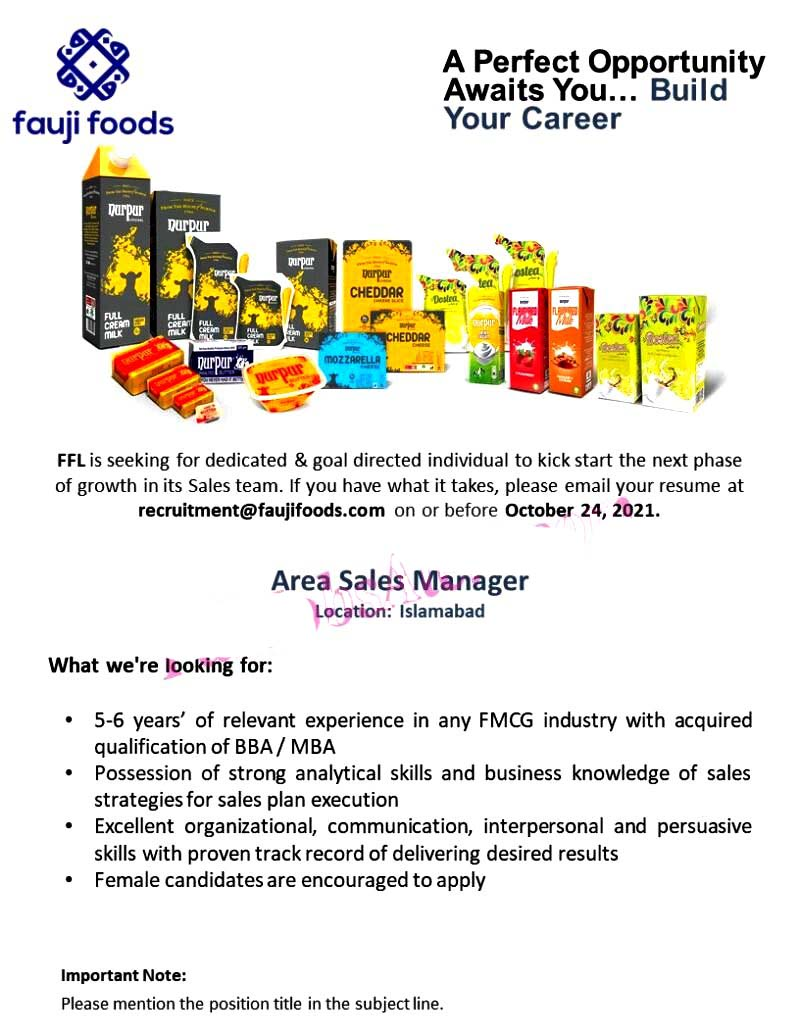 Fauji Foods Limited Latest Jobs For Area Sales Manager