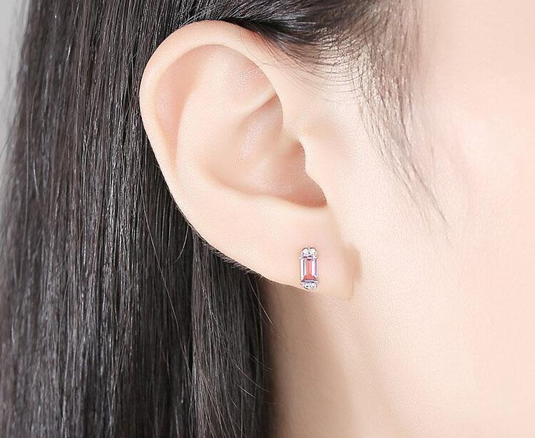 粉紅佳人人造拓帕石 925純銀耳環
