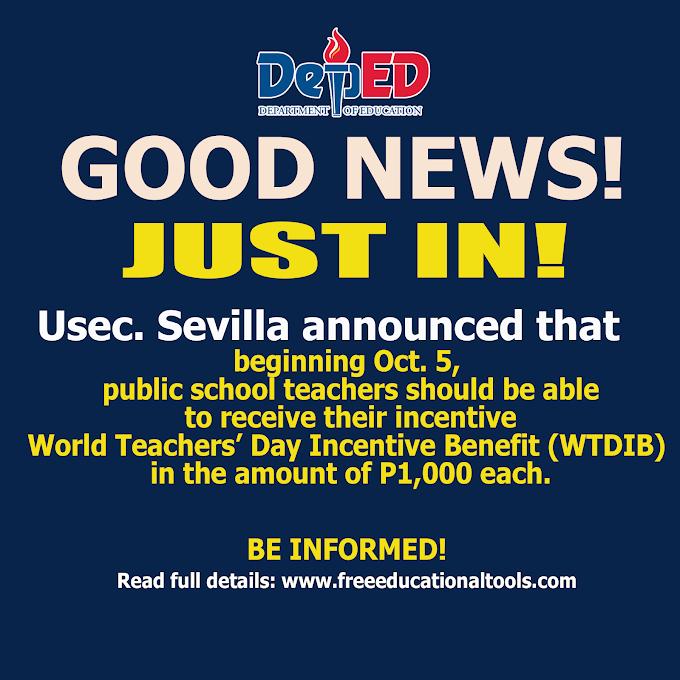 Good News! Public School Teachers receive P1,000 each as World Teachers' Day incentive starting Oct. 5, 2021