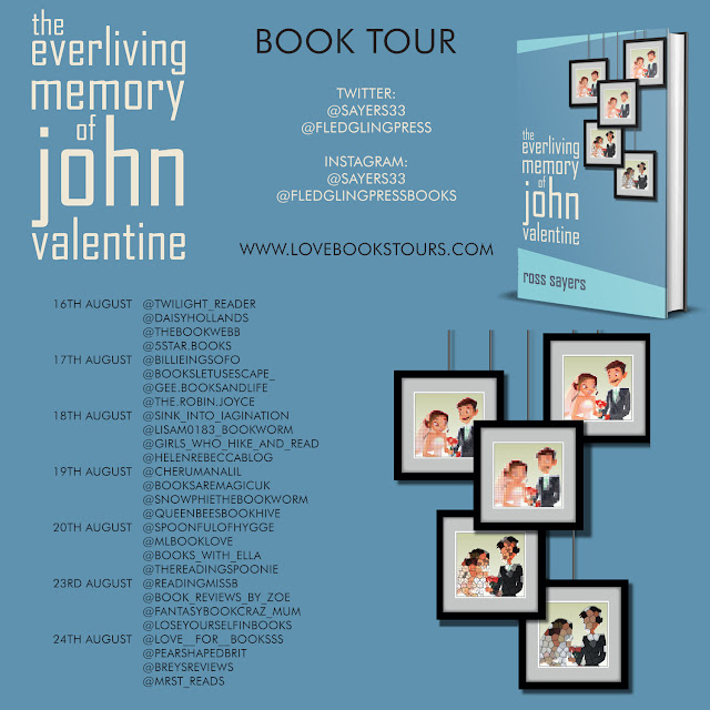 The Everliving Memory of John Valentine by Ross Sayers book review tour poster
