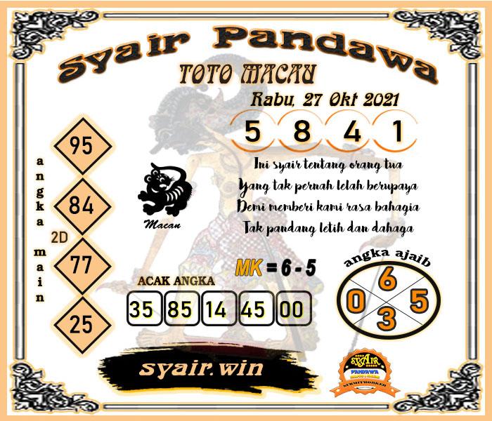 Syair Pandawa Toto Macau Rabu 27 Oktober 2021