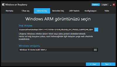 Windows ARM Görüntüsü Seç WoR
