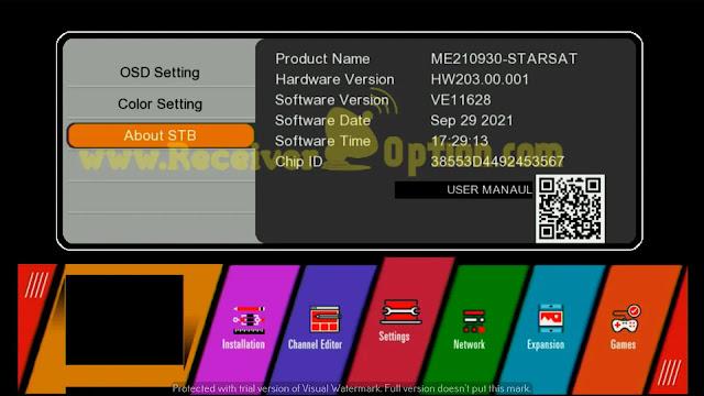STARSAT GX6605S HW203.00.001 U38 MENU NEW SOFTWARE 29 SEPTEMBER 2021