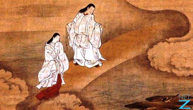 Ancient illustration of Izanagi and Izanami