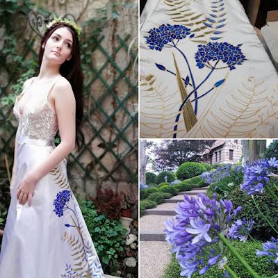 Robe D'Ors et de Soie peinte à la main, fleurs bleues