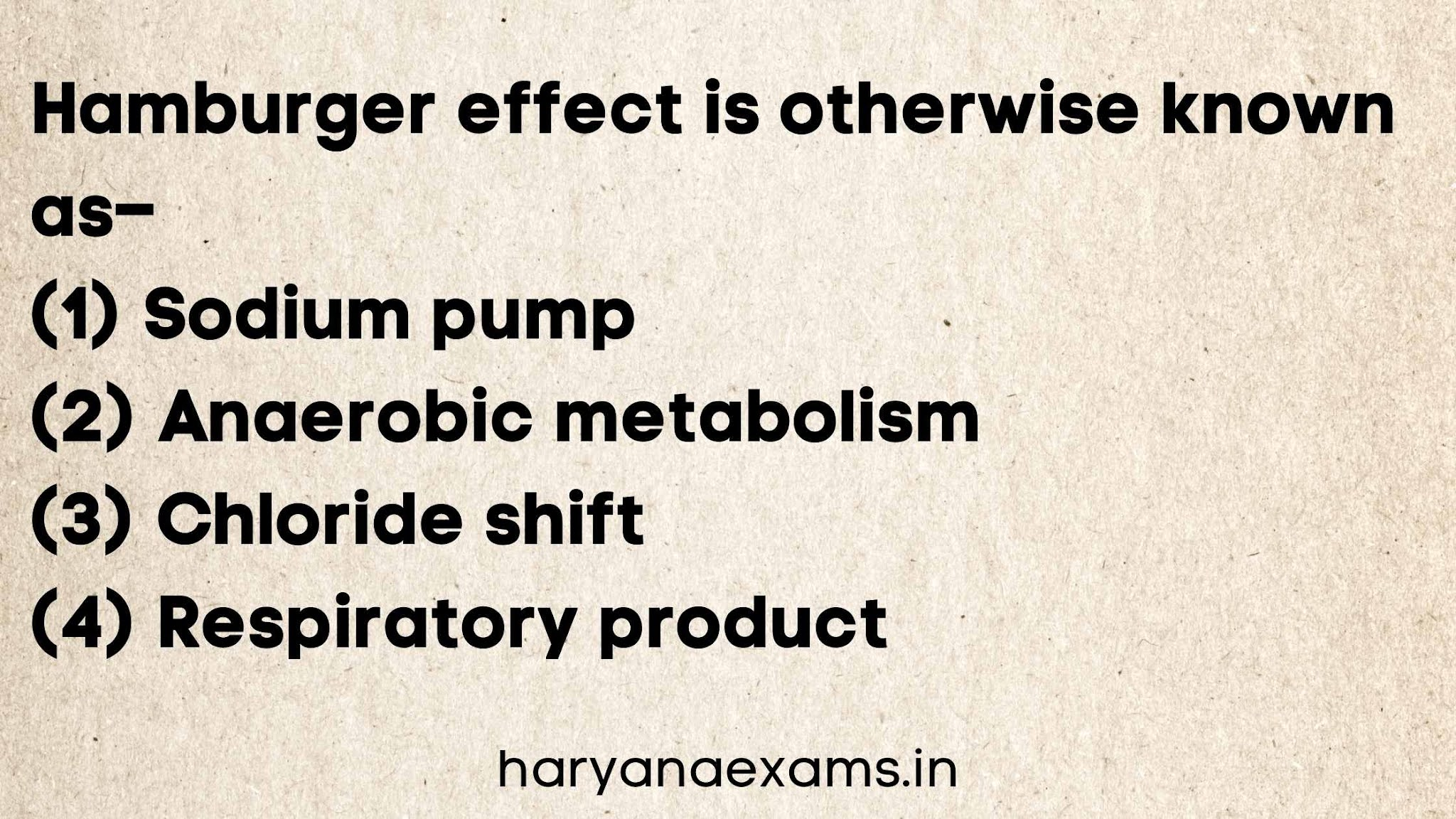 Hamburger effect is otherwise known as–   (1) Sodium pump   (2) Anaerobic metabolism   (3) Chloride shift   (4) Respiratory product