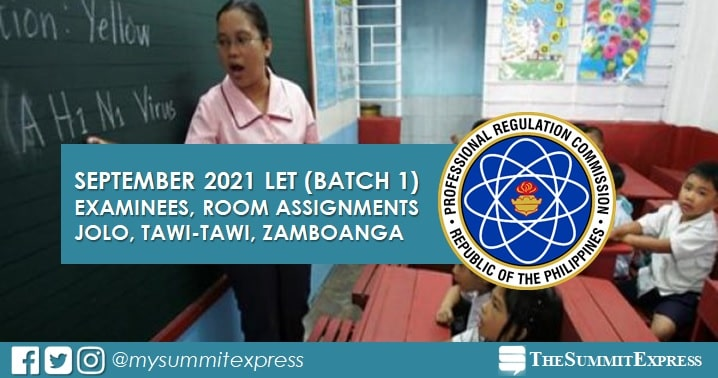 Examinees, Room Assignments: September 2021 LET in Jolo, Tawi-tawi, Zamboanga