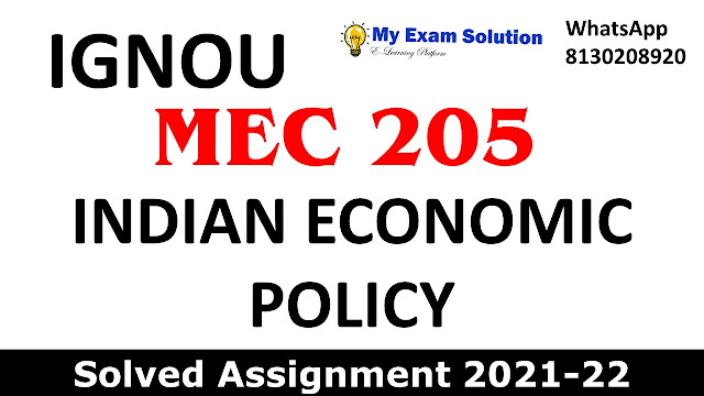 MEC 205 Solved Assignment 2021-22