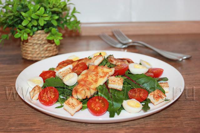 рецепт салата с мангольдом и жареным адыгейским сыром с пошаговыми фото