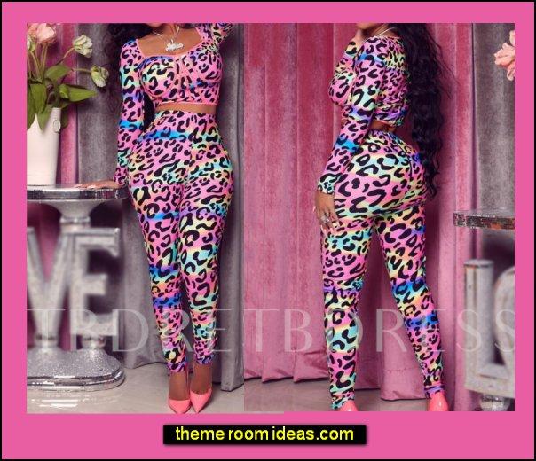Leopard Pencil Pants Women's Two Piece Sets womens fashion