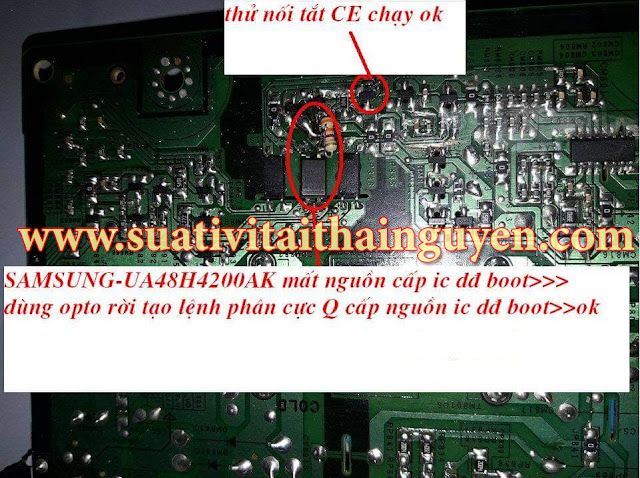 Cách thực hiện Tự Sửa tivi SamSung UA48H4200AK bệnh mất nguồn cấp IC
